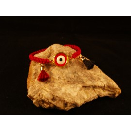 Handmade Bracelet red macrame with enamel eye