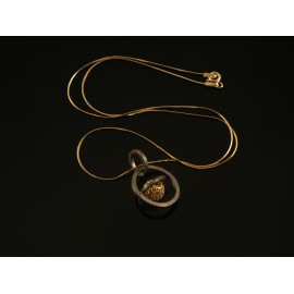 Handmade necklace pedant sphere gold plated silver 925