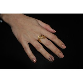 Handmade Ring gold plated silver 925 with white zircon