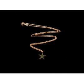 Necklace Ptarfish Pink Gold plated 925 with green zircon