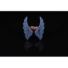 Angel wings ring with blue zircon