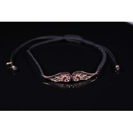 Bracelet black macrame angel's wings