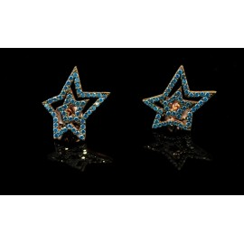 Earrings with stars blue zircon