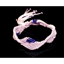 Handmade macrame Diamond Leaf bracelet little purple with blue small beads