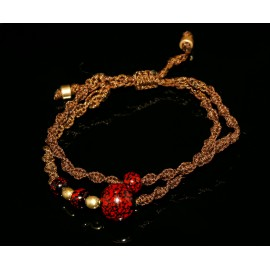 Handmade double macrame brown bracelet with beads and metal beads