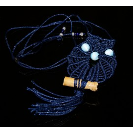 Handmade blue macrame owl necklace