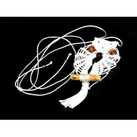 Handmade white macrame owl necklace