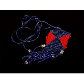 Handmade blue and red ethnic macrame necklace