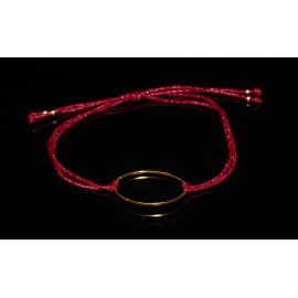 Handmade dark red Brass Ring Oval bracelet