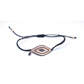 Bracelet with rose gold plated eye with black Cz