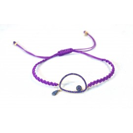 Bracelet with gold plated eye with purple and blue Cz