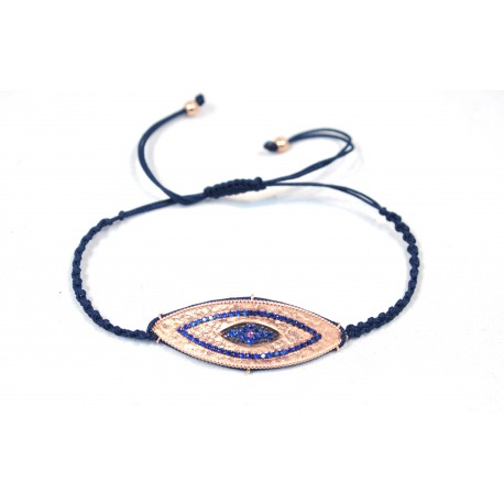 Bracelet with gold plated eye with blue Cz