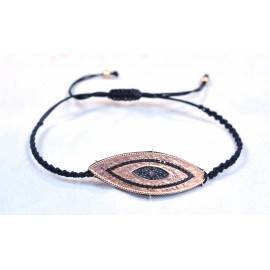 Bracelet with gold plated eye with black Cz.