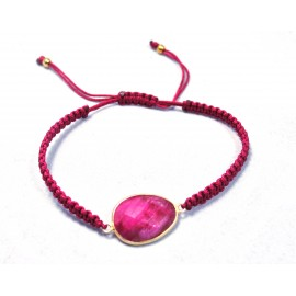 Bracelet macrame red crystal