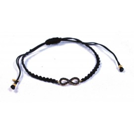 Bracelet cord with gold plated infinity and black Cz