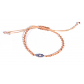 Bracelet beige with eye blue and white Cz