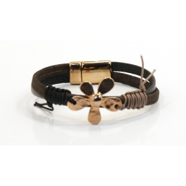 Bracelet Brown Cork Gold-plated Flower
