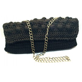 Handmade Black Bag with antique brass chain