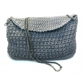 Handmade grey Bag with chain