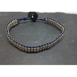 Handmade bracelet with Metal Zamak Cast Bead Tube and Metal Zamak button