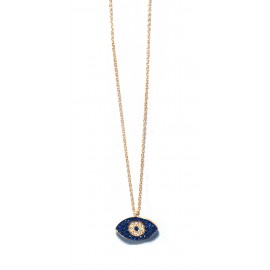 Necklace gold plated 925o silver with eye with blue and white Cz.