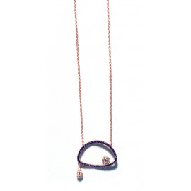 Necklace rose gold plated 925 silver with eye with purple and white Cz