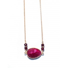 Necklace gold plated 925 silver with red semi precious stone