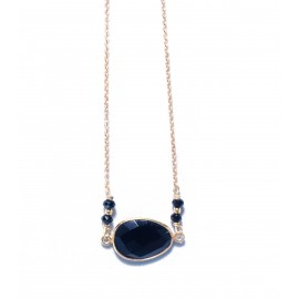 Necklace gold plated 925o silver with onyx