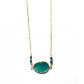 Necklace gold plated 925o silver with emerald crystal