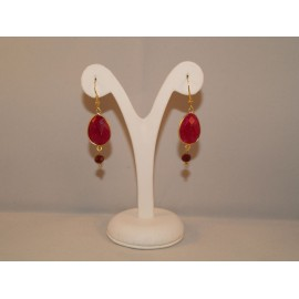 Earrings with red Semi-precious stone