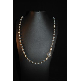Necklace with pearls and rutile